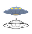 set outline and colorful flat ufo various vector image vector image