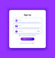 sign up page purple gradient registration form vector image