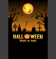 silhouette halloween graveyard card vector image vector image