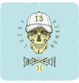 skull in baseball cap color logo art vector image vector image
