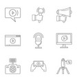 social photo icons set outline style vector image