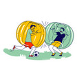 teenager characters playing soccer inside zorb vector image vector image