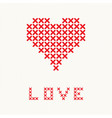 Valentines card with embroider heart vector image