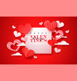 valentines day paper cut red heart greeting card vector image