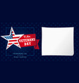 veterans day usa honoring all who served card vector image vector image