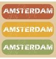 Vintage Amsterdam stamp set vector image