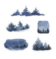 watercolor set forest winter landscapes vector image