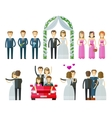 wedding icons set marriage nuptial wed or vector image
