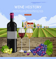 wine history card with full glasses and bottle vector image vector image