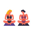 yoga exercises and practice female friends vector image