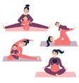 yoga exercises with baby woman is stretching vector image