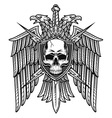 Eagle crest with skull coat of arms vector image