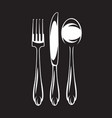 monochrome set of cutlery - fork spoon vector image