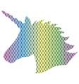 3d dotted rainbow unicorn shape vector image