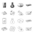 bank and money icon set of vector image vector image