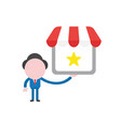 businessman character holding shop store with star vector image