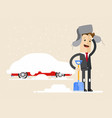 businessman digs car out of snow winter vector image