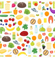 cartoon color healthy food background pattern on a vector image vector image