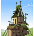 cartoon fairy house overgrown plants vector image vector image