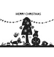 christmas holiday card with hand drawn style vector image vector image