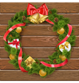 Christmas Wreath on Wooden Board 4 vector image vector image