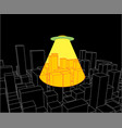 city and ufo abstract skyline and space invader vector image vector image