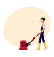 cleaning service boy man using floor cleaning vector image vector image