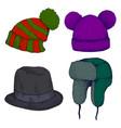 colorful headwears doodle cartoon style set vector image