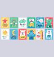 cute baby poster kids play room nursery or baby vector image vector image
