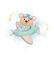 cute little bear flying on plane