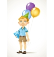 Cute little boy with a birthday gift and balloons vector image vector image