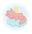 Cute sleeping angel-cat vector image vector image