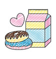 doodle milk box with sweet donuts and heart vector image