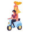 female happy friends riding motor bike together vector image vector image