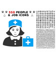 first-aid nurse icon with bonus vector image vector image