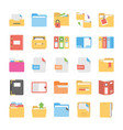 flat icons set of files and folders vector image