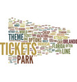 Florida theme park tickets text background word vector image