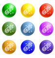 flying comet icons set vector image