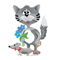 Funny gray cat with cute rat and blue flowers vector image