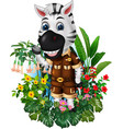 funny white black zebra with tropical plant flower vector image vector image