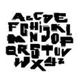 geometric modern cyber style font alphabet vector image vector image