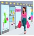 Girls with bags for shopping Shops in the vector image vector image