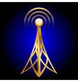 gold antenna icon on blue background vector image vector image