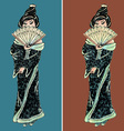 Hand drawn geisha set vector image vector image