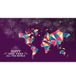 Happy new year 2016 world triangle hipster color vector image vector image