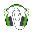 headphones with cable accessory for music vector image vector image