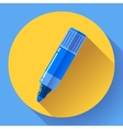 Highlighter icon in flat style with long shadow vector image
