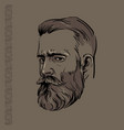 hipster man portrait with beard and pattern vector image
