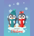 holiday christmas card with cute little vector image vector image