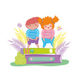 little chubby kids with pile books vector image